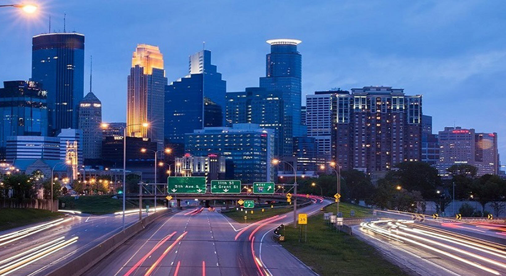 Minneapolis road twilight