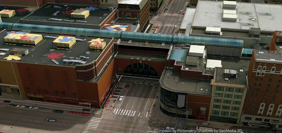 GeoMedia 3D view of downtown Indianapolis